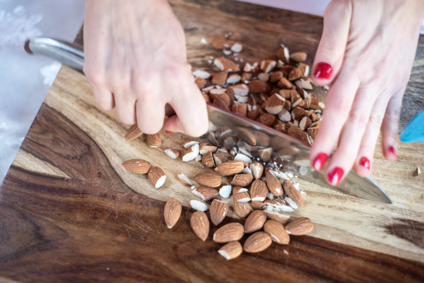Chocolate Drops Chopping Almonds