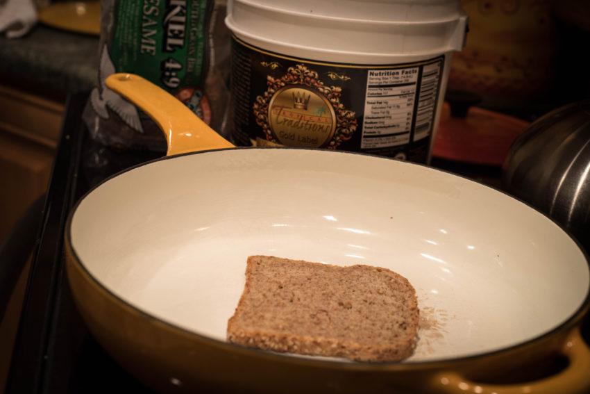 slice-bread-in-skillet